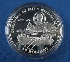 Fiji 10 Dollar Discovery of Fiji William Bligh 1993 Silber PP