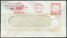 TRANS CANADA AIRLINES 1956 METER FRANKING on GB WINDOW ENVELOPE