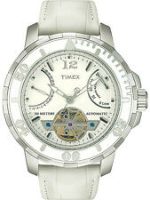 Timex Mens Luxury Open Heart Automatic White Dial Leather Strap Watch NEW T2M514