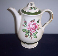AMERICAN LIMOGES CHINA MEADOW ROSE 1LC-413 DARK GREEN LIBAND COFFEE POT