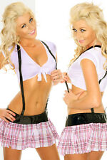 Sexy School Girl Pink Plaid Uniform Dress Up Adult Naughty Costume 8 10 12