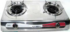 PORTABLE DOUBLE BURNER PROPANE SUPER GAS STOVE LARGE CHROME