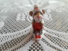 Wee Forest Folk MS-9 Skier Mouse in Red/Green,  Mint Condition