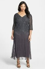 Pisarro Nights GRAYBeaded V-Neck Lace Illusion Gown Plus 22W Orig Retail $238.00