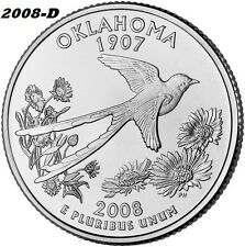 2008-D UNCIRCULATED OKLAHOMA STATE QUARTER - I HAVE ALL P&D STATE QUARTERS