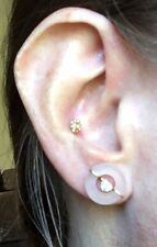 14k Yellow Gold & Quartz Halo Earring Jacket Enhancers. Wear with Your Studs