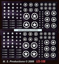 1/144 12mm 15mm 20mm FOW Decals US-108 US Stencilled Stars White AFVs