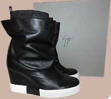 $950 Giuseppe Zanotti Wedge Black Leather Skate Ankle Sneaker Boot 36.5 Bootie