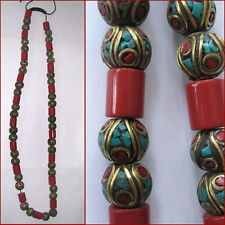 NECKLACE CORAL TURQUOISE INLAY BRASS BRIGHT CHEERFUL NEPAL