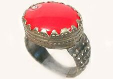 18thC Russian Ukrainian Crimean Tatars Ornate Silver Ring Ruby Red Glass Sz6½