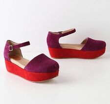 Anthropologie precocious colorblocked flatforms GEE WAWA SHOES PURPLE RED 7