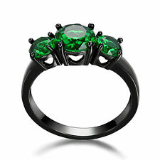 14KT Women's Black Gold Filled Engagement Ring Emerald 3 Stone Jewelry Size 5.5