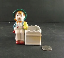 VINTAGE BOY WITH YELLOW BIRD MATCH OR TOOTHPICK HOLDER OCCUPIED JAPAN