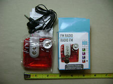 FM Radio Type 1 in Clear Red with Earphones (NEW in box)