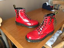 Vintage dr martens 1460 red patent boots uk 7 eu 41 angleterre peau punk kawaii