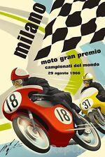 POSTER A3 GRAN PREMIO MOTO MILANO 1966 AUTOGRAFO GIACOMO AGOSTINI,REPRODUCCION