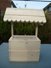 Wooden lockable wishing well for sale unpainted free postage in uk.