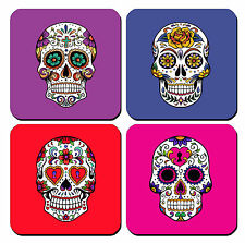 DRINK COASTERS - Sugar Skull Dia de los Muertos Set of 4 glossy wood bar kitchen