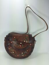 Vtg Hand Tooled Leather Painted Flowers Boho Hippie Shoulder Bag Purse Mexico