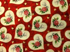 NEW!!  Vintage Valentine Hearts on Red Cotton Fabric ~ by the HALF YARD