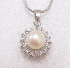 Women New Fresh Pearl Crystal Necklace Chain White Black Pink Lilac Flower Star