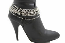 Women Western Boot Bracelet Silver Metal Multi Chains Bling Anklet Shoe Charm