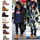 LADIES WOMENS ANKLE BOOTS LACE UP CASUAL COMBAT GIRLS FASHION SHOES SIZE 345678