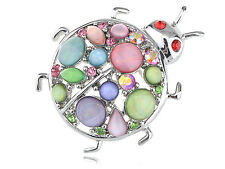 Silver Tone Summer Colorful Rhinestone Cat Eye Bead Ladybug Insect Pin Brooch