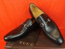 NIB GUCCI BLACK BETIS GLAMOUR LEATHER SILVER HORSEBIT LOAFERS 10.5 11.5 # 353016