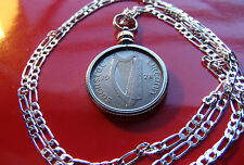 "1928 IRELAND Lucky Sixpence ( Harp & Hound) up to 30"" 925 Sterling Silver Chain"