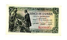 Spain … P-129 … 5 Pesetas … 1945 … *UNC*