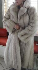 FULL LENGHT Joseph ZACCARIA BLUE SILVER FOX FUR COAT JACKET VINTAGE Hollywood