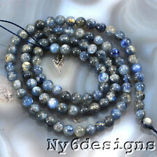 """4x4mm Natural Blue Kyanite Round Beads 15"""" (KY50)a"""