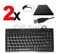 2X USB Wired Slim Portable Mini Keyboard For Windows 7 8 10 PC Laptop Computer