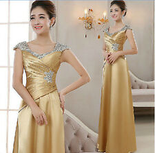 Womens Formal Bridesmaid Wedding Evening Party Ball Gown Sequins Cocktail Dress