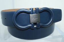 Salvatore Ferragamo Men's Belt Blue Gancini Leather Size 32 Adjustable NWT