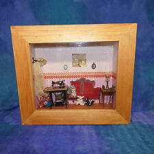 Vintage Artust Victorian Doll House Dollhouse Sewing Parlor Room Box MCA