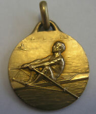 Antique Art Deco French Gold Fix Rowing Medal Charm or Pendant Signed Lavrillier