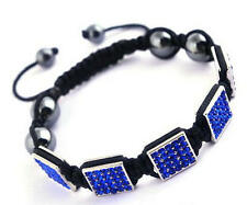 Mens Hip Hop Silver Platinum Square Iced CZ Adjustable Macrame Bracelet Blue