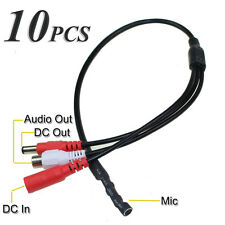 10 Pcs Mic RCA Audio Microphone DC Power Cable Cord for CCTV DVR Security Camera