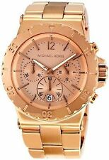 New MICHAEL KORS MK5314 Steel Rose Gold Tone Chronograph Women's Watch 42mm $275