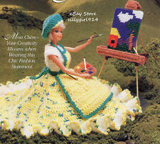 """""""ARTIST'S COSTUME""""~Crochet PATTERN ONLY fits BARBIE FASHION DOLL + PC EASEL"""