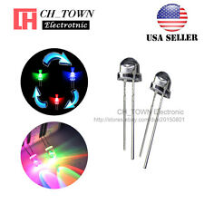 100pcs 5mm Straw Hat RGB Rainbow Fast Flashing Transparent 2pin LED Diodes USA