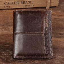 Mens Genuine Cowhide Leather Bifold Wallet Zipper Card Holder Vintage Coin Purse