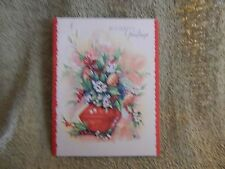 "Vintage Christmas Card - Unmarked ""Holiday Greetings"" Floral / White Berries"