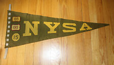 NYSA Pennant 1915 - olive green and yellow felt