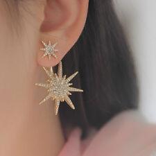 1pc Fashion Crystal Rhinestone Double Star Ear Stud Earring Wedding Bridal Celeb