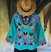 Turquoise & Multi-Color, Corn Motif hand embroidery Blouse, Mexican Hippie Boho