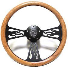 Volkswagen VW Bug. Beetle Steering Wheel Oak Wood & Flames Design Black Billet