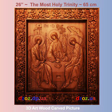 "26"" The Most Holy Trinity 65cm Carved wood 3D picture art oil painting icon"
